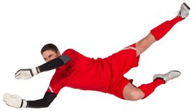 Fit goal keeper jumping up Royalty Free Stock Photography