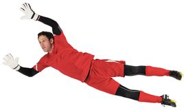 Fit goal keeper jumping up Royalty Free Stock Photos