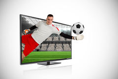 Fit goal keeper saving goal through tv Royalty Free Stock Photography