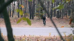 Fit good-looking professional cyclist in black cycling apparel, helmet and sunglasses riding on cyclocross bike in autumn park. Yo. Ung handsome male athlete stock footage