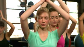 Fit group doing yoga in the gym stock video