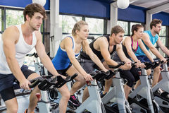 Fit group of people using exercise bike together royalty free stock photography