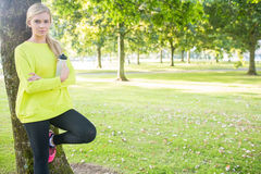 Fit happy blonde holding sports bottle Royalty Free Stock Images