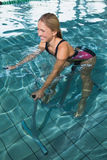 Fit happy blonde using underwater exercise bike Royalty Free Stock Photo