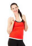 Fit happy woman holding towel Royalty Free Stock Images