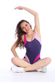 Fit happy woman stretch exercise during workout Stock Photography