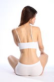 Fit healthy body of young woman in white underwear Royalty Free Stock Photo