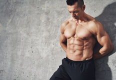 Fit and healthy muscular fitness model male man Royalty Free Stock Photography