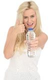 Fit Healthy Positive Happy Young Blonde Woman Holding a Bottle of Mineral Water Stock Photo