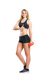 Fit, healthy and sporty woman in sportswear isolated on white Royalty Free Stock Photos
