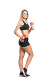 Fit, healthy and sporty woman in sportswear  isolated on white Stock Photos