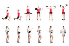 Fit, healthy and sporty woman in sportswear making physical exercises isolated on white Stock Photos