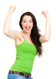Fit & healthy woman with arms raised Royalty Free Stock Images