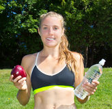 Fit, healthy woman making good nutrition choices Stock Photography
