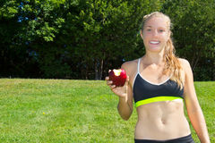 Fit, healthy woman making good nutrition choices Stock Image