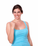Fit lady in gym clothing celebrating a victory Royalty Free Stock Images