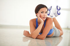 Fit latin lady resting from relaxation exercise Stock Photography