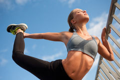 Fit lean blond beauty. Royalty Free Stock Image