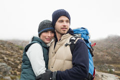 Fit loving couple on a hike in the countryside Stock Photo