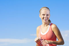 fit lycklig sund kvinna Fotografering för Bildbyråer