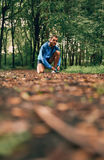 Fit male jogger ties shoes while day training for cross country forest trail race in a nature park. Royalty Free Stock Photo