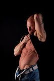 Fit Male Model. On Black Isolated Background Stock Images