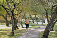 Fit male model jogging. A fit male model jogging in the park early in the morning Stock Photo