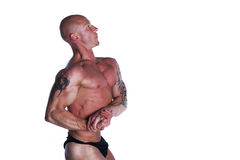 Fit Male Model Posing. Fit Bodybuilder With Tattoos Posing On White Isolated Background Stock Images