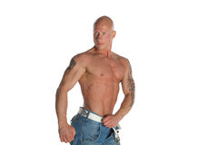 Fit Male Model With Tattoos. Fit Male Model on White Isolated Background Royalty Free Stock Photo