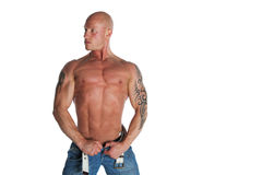Fit Male Model With Tattoos. Fit Male Model on White Isolated Background Royalty Free Stock Image