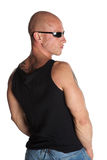 Fit Male Model With Tattoos. Fit Male Model With Sunglasses on White Isolated Background Stock Photo