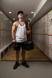 Fit Man Changing Clothings In Locker Door Royalty Free Stock Images