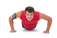 Fit man doing push ups Stock Images