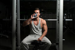 Fit Man Drinking Water Stock Photo