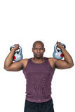 Fit man exercising with dumbbell Stock Image