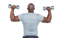 Fit man exercising with dumbbells Stock Photography