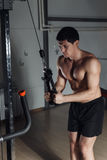 Fit man exercising at the gym on a machine. Stock Photography