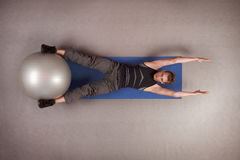 fit man exercising with stability ball royalty free stock images