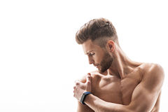 Fit man feels terrible ache Stock Images