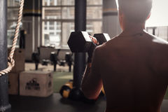 Fit man in gym working out Stock Photography