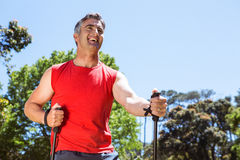 Fit man hiking in the park Royalty Free Stock Photos