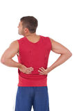 Fit man with injured back Royalty Free Stock Photography