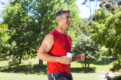 Fit man jogging in the park Royalty Free Stock Photography
