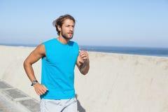 Fit man jogging on promenade Royalty Free Stock Photo