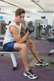 Fit man lifting dumbbells sitting on the bench Royalty Free Stock Image
