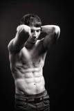 Fit man with sexy abdomen muscles Royalty Free Stock Images