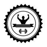 Fit man silhouette icon image. Emblem or label fit man silhouette icon image vector illustration design Stock Photo