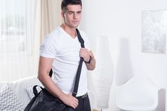 Fit man with sporty bag Stock Photos