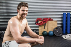 Fit man taking a break from working out Royalty Free Stock Photo
