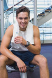 Fit man taking a break from working out Royalty Free Stock Photography